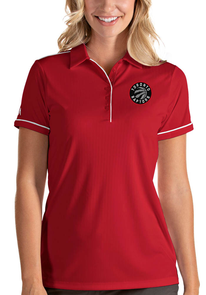 Antigua Toronto Raptors Womens Red Salute Short Sleeve Polo Shirt - Image 1