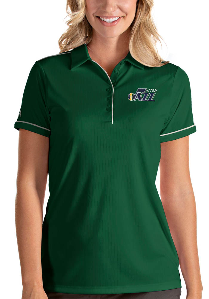 Antigua Utah Jazz Womens Green Salute Short Sleeve Polo Shirt - Image 1