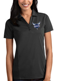 Charlotte Hornets Womens Antigua Tribute Polo Shirt - Grey