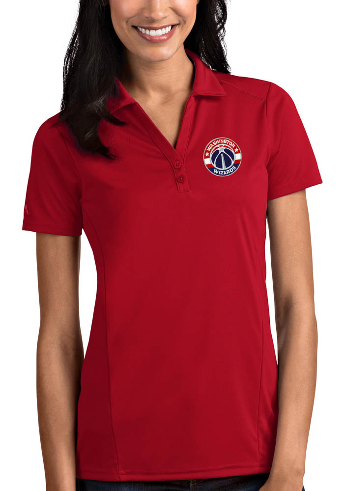 Antigua Washington Wizards Womens Red Tribute Short Sleeve Polo Shirt - Image 1