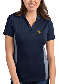 Indiana Pacers Womens Antigua Venture Polo Shirt - Navy Blue