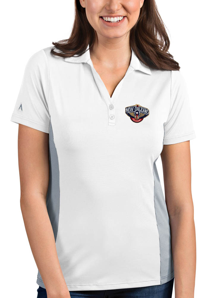 Antigua New Orleans Pelicans Womens White Venture Short Sleeve Polo Shirt - Image 1