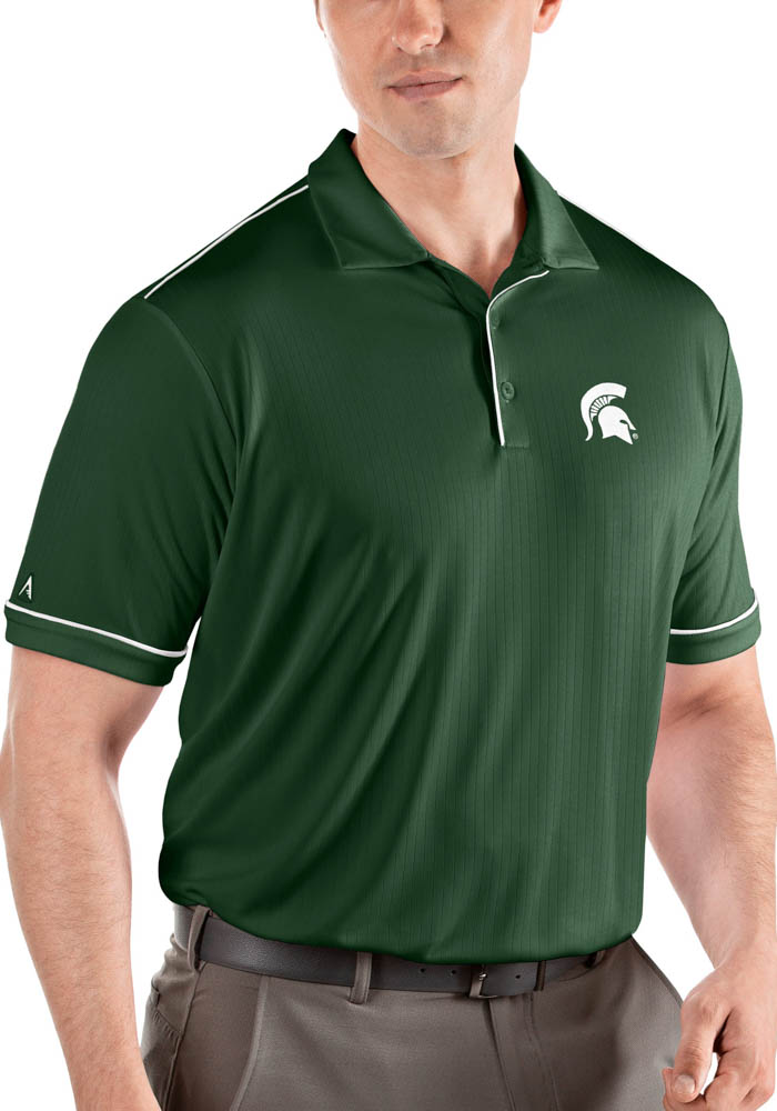 Antigua Michigan State Spartans Mens Green Salute Short Sleeve Polo - Image 1