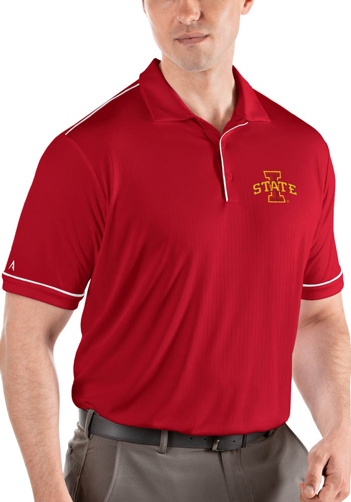 Antigua Iowa State Cyclones Mens Red Salute Short Sleeve Polo - Image 1
