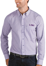 Antigua LSU Tigers Purple Structure Dress Shirt