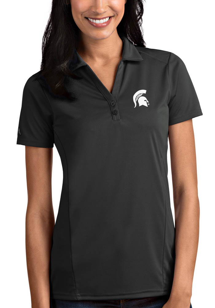 Antigua Michigan State Spartans Womens Grey Tribute Short Sleeve Polo Shirt - Image 1