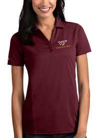 Virginia Tech Hokies Womens Antigua Tribute Polo Shirt - Maroon
