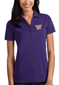 Washington Huskies Womens Antigua Tribute Polo Shirt - Purple