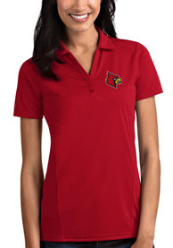 Louisville Cardinals Womens Antigua Tribute Polo Shirt - Red