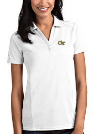 GA Tech Yellow Jackets Womens Antigua Tribute Polo Shirt - White