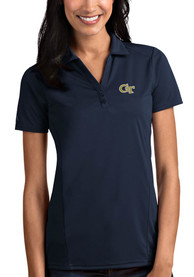 GA Tech Yellow Jackets Womens Antigua Tribute Polo Shirt - Navy Blue