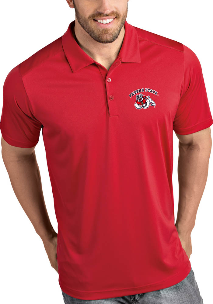 Antigua Fresno State Bulldogs Mens Red Tribute Short Sleeve Polo - Image 1