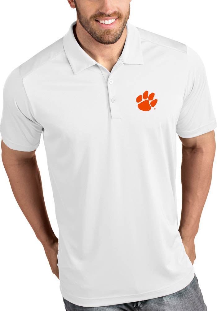 Antigua Clemson Tigers Mens White Tribute Short Sleeve Polo - Image 1