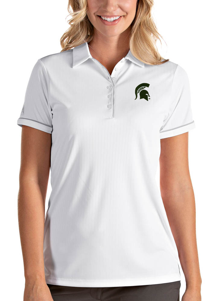Antigua Michigan State Spartans Womens White Salute Short Sleeve Polo Shirt - Image 1