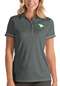 North Dakota Fighting Hawks Womens Antigua Salute Polo Shirt - Grey