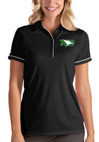North Dakota Fighting Hawks Womens Antigua Salute Polo Shirt - Black