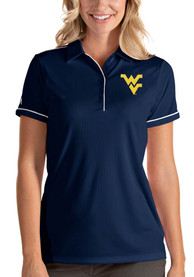 West Virginia Mountaineers Womens Antigua Salute Polo Shirt - Navy Blue