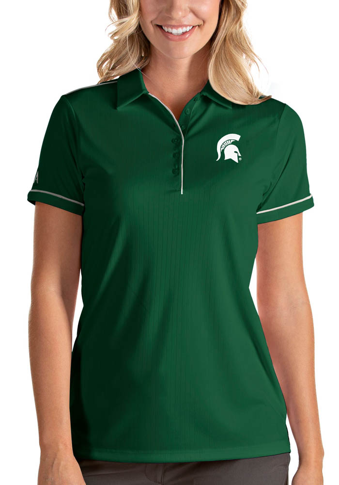 Antigua Michigan State Spartans Womens Green Salute Short Sleeve Polo Shirt - Image 1