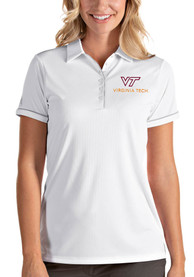 Virginia Tech Hokies Womens Antigua Salute Polo Shirt - White