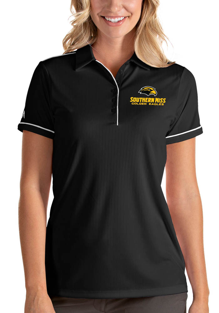 Antigua Southern Mississippi Golden Eagles Womens Black Salute Short Sleeve Polo Shirt - Image 1