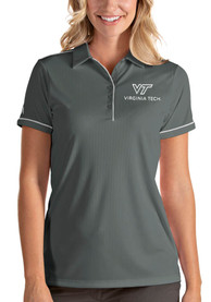 Virginia Tech Hokies Womens Antigua Salute Polo Shirt - Grey