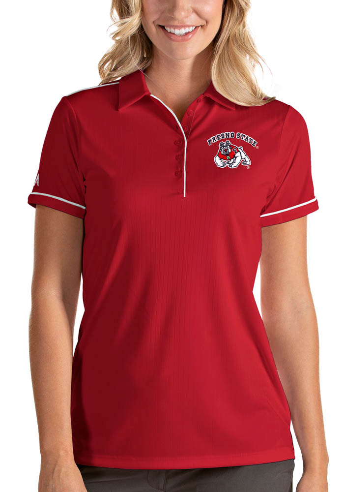 Antigua Fresno State Bulldogs Womens Red Salute Short Sleeve Polo Shirt - Image 1