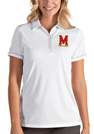 Maryland Terrapins Womens Antigua Salute Polo Shirt - White