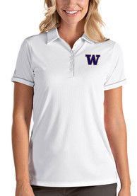 Washington Huskies Womens Antigua Salute Polo Shirt - White