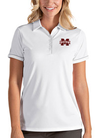 Mississippi State Bulldogs Womens Antigua Salute Polo Shirt - White