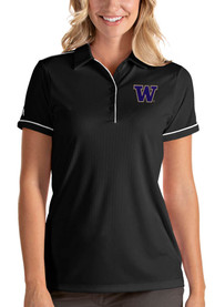 Washington Huskies Womens Antigua Salute Polo Shirt - Black