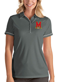 Maryland Terrapins Womens Antigua Salute Polo Shirt - Grey