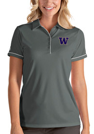 Washington Huskies Womens Antigua Salute Polo Shirt - Grey