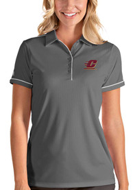 Central Michigan Chippewas Womens Antigua Salute Polo Shirt - Grey