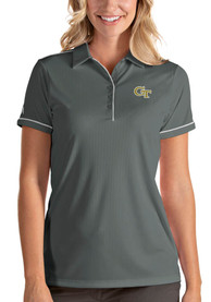 GA Tech Yellow Jackets Womens Antigua Salute Polo Shirt - Grey