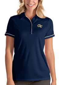 GA Tech Yellow Jackets Womens Antigua Salute Polo Shirt - Navy Blue