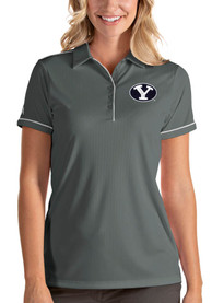 BYU Cougars Womens Antigua Salute Polo Shirt - Grey