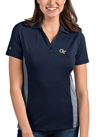 GA Tech Yellow Jackets Womens Antigua Venture Polo Shirt - Navy Blue