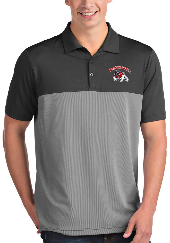 Antigua Fresno State Bulldogs Mens Grey Venture Short Sleeve Polo - Image 1