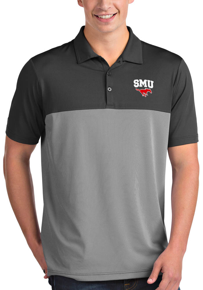 Antigua SMU Mustangs Mens Grey Venture Short Sleeve Polo - Image 1