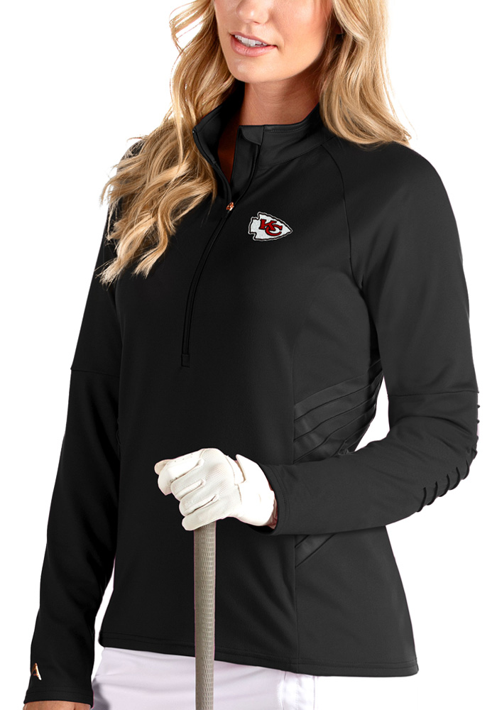 Antigua Kansas City Chiefs Womens Luxe Black 1/4 Zip Pullover