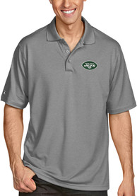 New York Jets Antigua Pique Polo Shirt - Grey