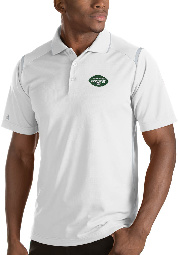 Antigua New York Jets Mens White Merit Short Sleeve Polo - Image 1