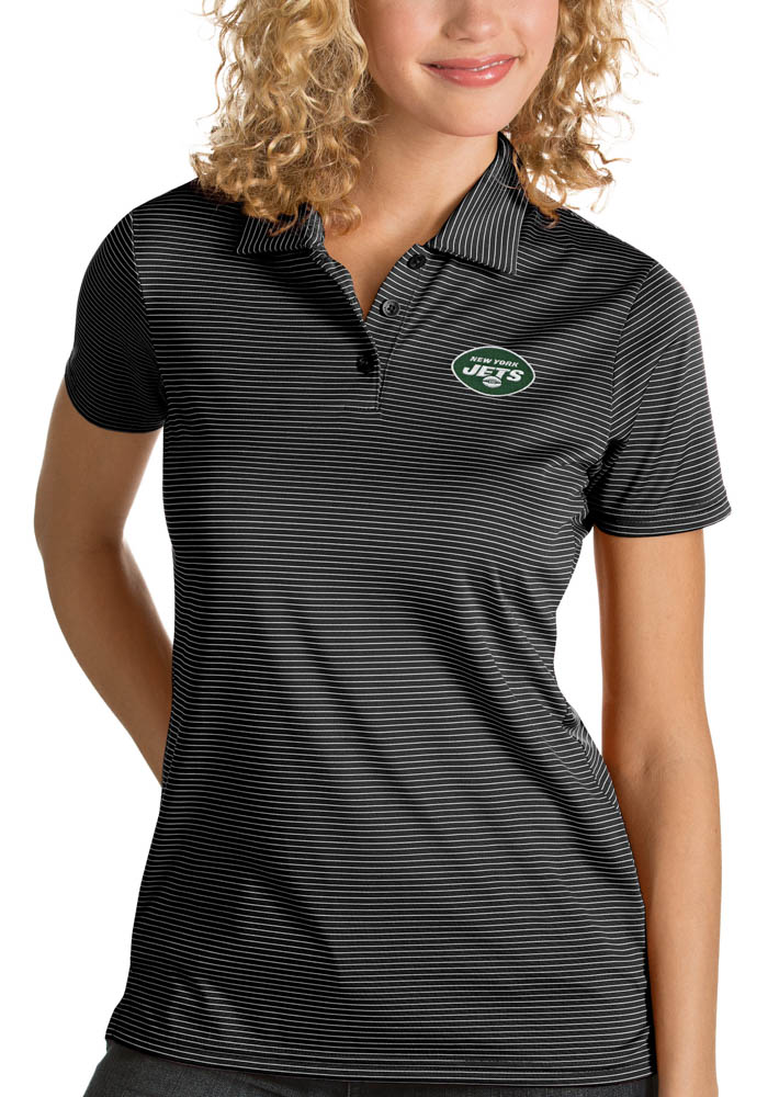 Antigua New York Jets Womens Black Quest Short Sleeve Polo Shirt - Image 1