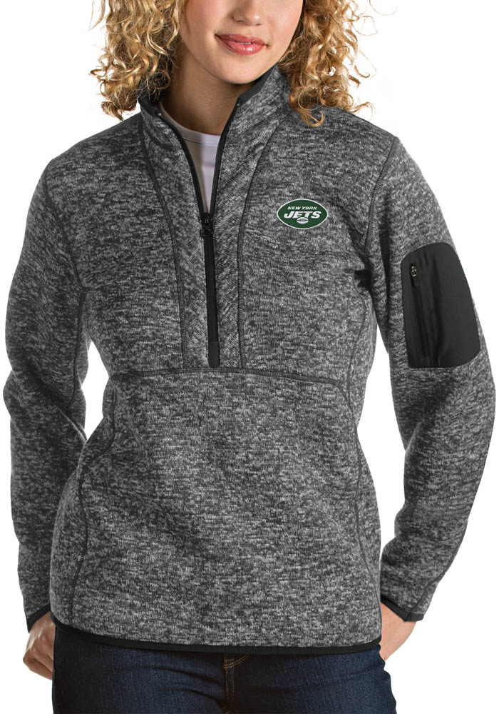 Antigua New York Jets Womens Grey Fortune 1/4 Zip Pullover - Image 1