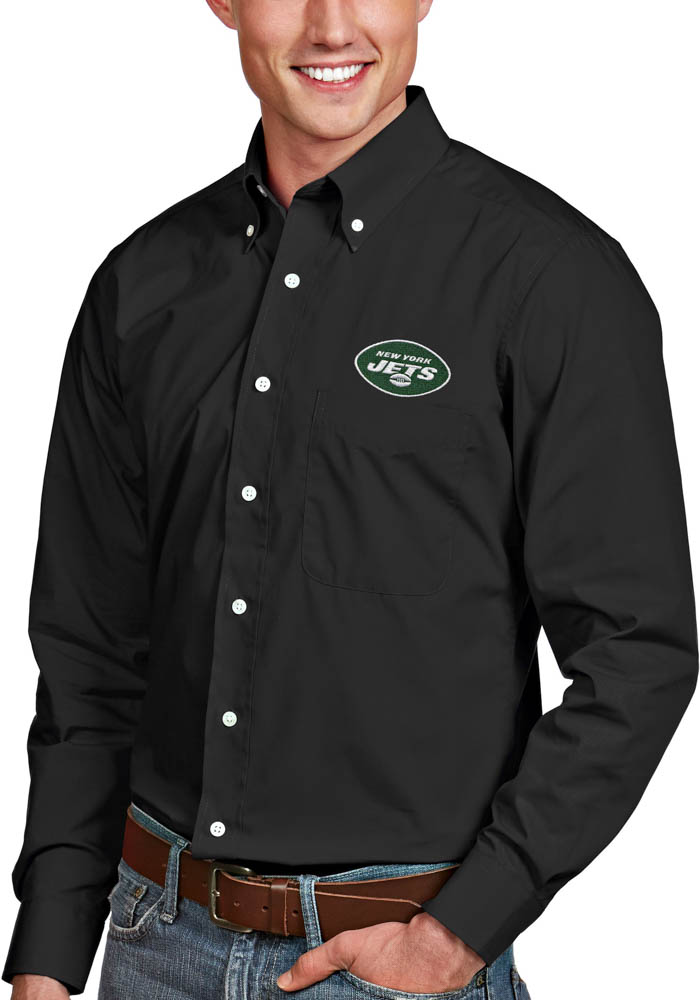 Antigua New York Jets Mens Black Dynasty Long Sleeve Dress Shirt - Image 1