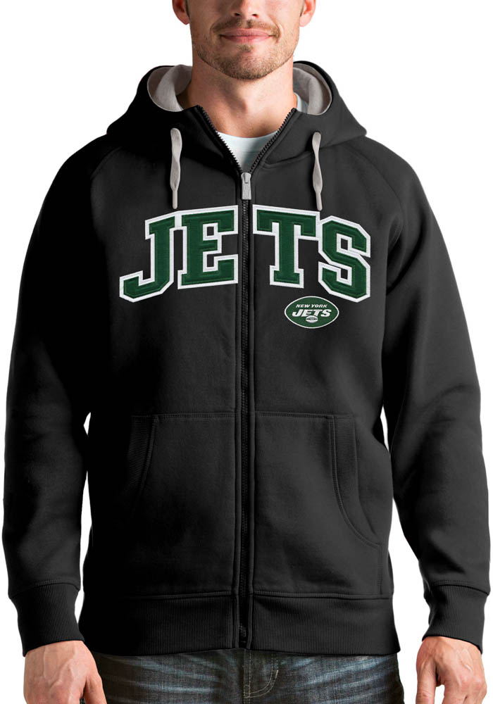 Antigua New York Jets Mens Black Victory Full Zip Long Sleeve Hoodie - Image 1