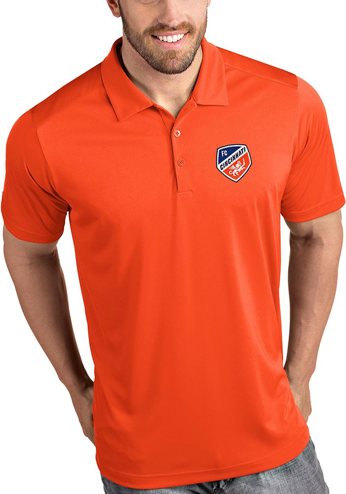 Antigua FC Cincinnati Mens Orange Tribute Short Sleeve Polo - Image 1