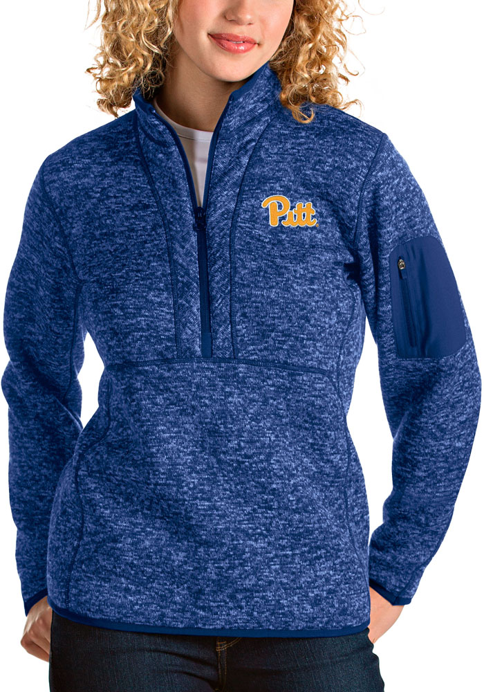 Antigua Pitt Panthers Womens Blue Fortune 1/4 Zip Pullover - Image 1