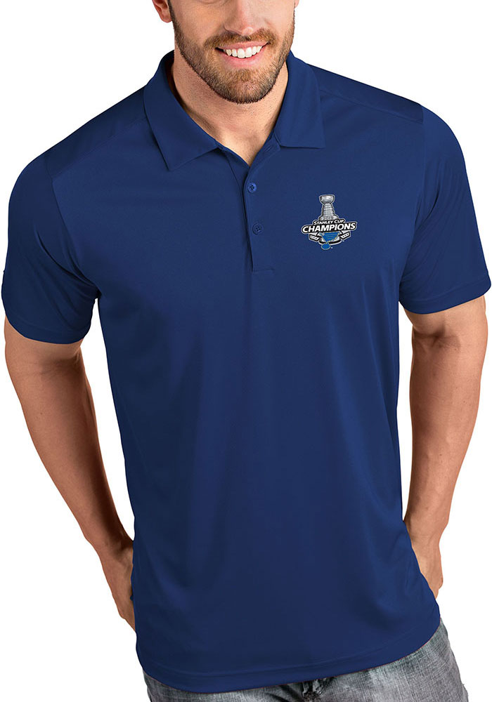 Antigua St Louis Blues Mens Blue 2019 Champs Tribute Short Sleeve Polo - Image 1
