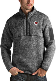 Kansas City Chiefs Antigua Fortune 1/4 Zip Pullover - Black